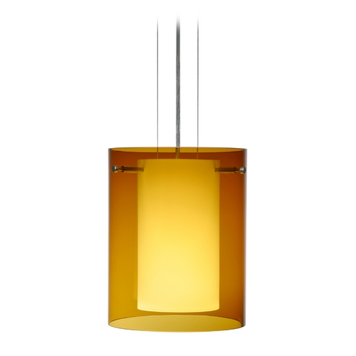 Besa Lighting Modern Pendant Light with Amber Glass in Satin Nickel Finish 1KG-G00607-SN