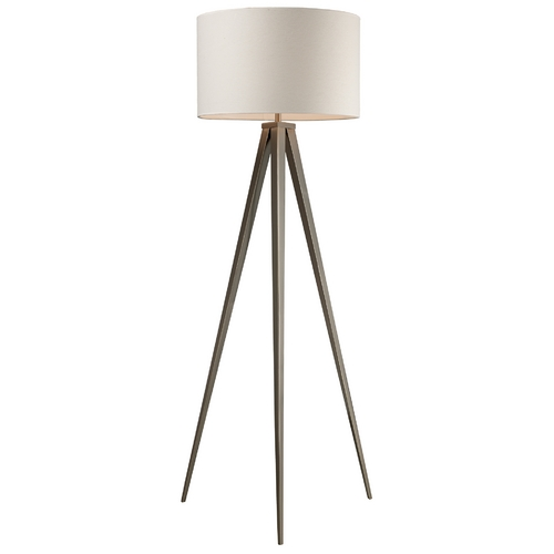 Elk Lighting Modern Floor Lamp with White Shade in Satin Nickel Finish D2121
