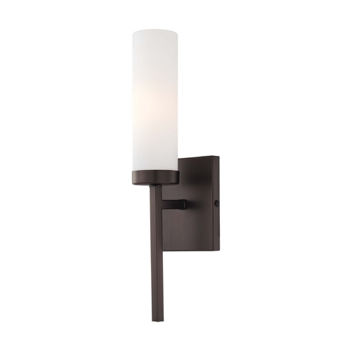 Minka Lavery Sconce Wall Light with White Glass in Copper Bronze Patina Finish 4460-647