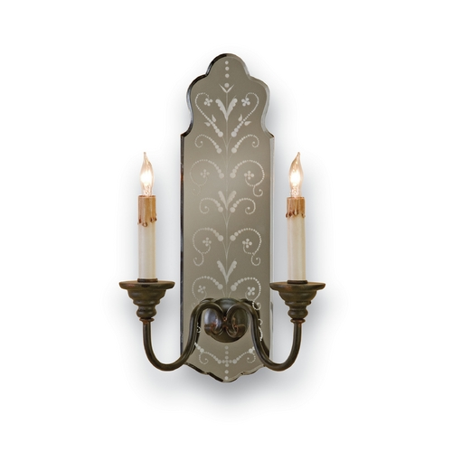 Currey and Company Lighting Plug-In Wall Lamp in Venetian Mirror/old Iron Finish 5403