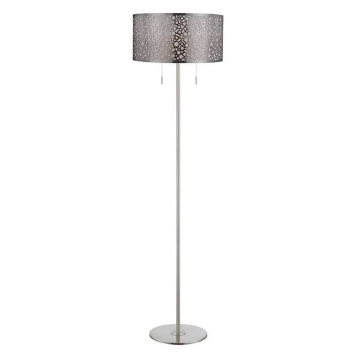 Lite Source Lighting Lite Source Lighting Neoma Polished Steel Floor Lamp with Drum Shade LS-82175PS