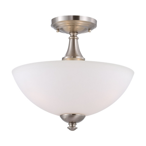 Nuvo Lighting Semi-Flushmount Light with White Glass in Brushed Nickel Finish 60/5044