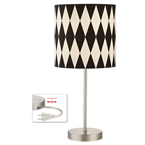 Design Classics Lighting Satin Nickel Table Lamp with Harlequin Patterned Drum Shade 1904-09 SH9489