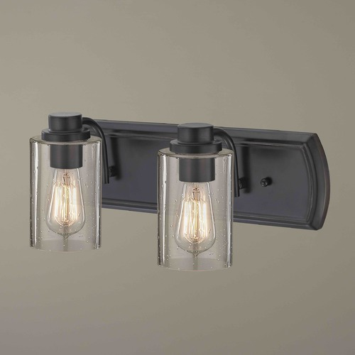 Design Classics Lighting Industrial Seeded Glass Bath Wall Light Bronze 2 Lt 1202-36 GL1041C