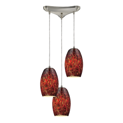 Elk Lighting Modern Multi-Light Pendant Light with Brown Glass and 3-Lights 10220/3EMB