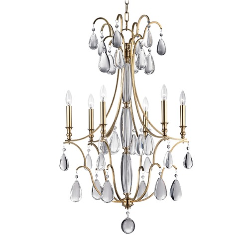 Hudson Valley Lighting Hudson Valley Crawford 2-Tier 6-Light Chandelier in Aged Brass 9324-AGB