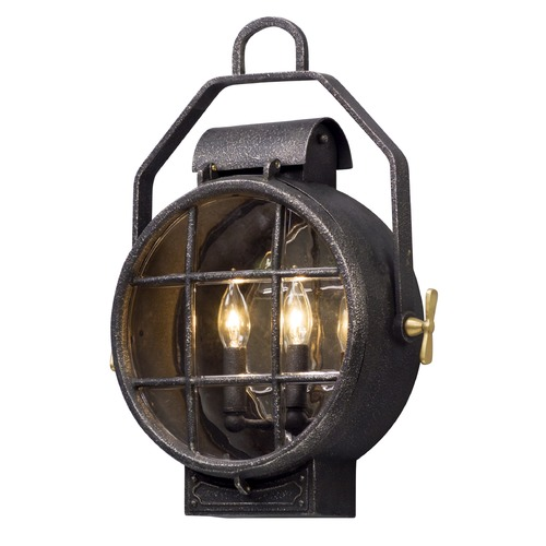 Troy Lighting Troy Lighting Point Lookout Aged Silver with Polished Brass Accents Outdoor Wall Light B5032