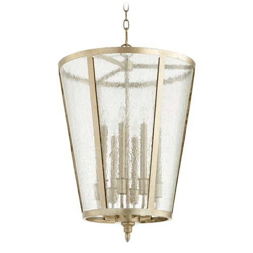 Quorum Lighting Quorum Lighting Aged Silver Leaf Pendant Light with Empire Shade 689-8-60