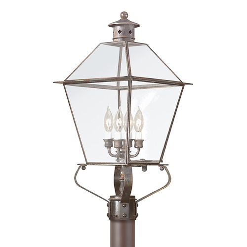 Troy Lighting Post Light with Clear Glass in Natural Rust Finish P8958NR