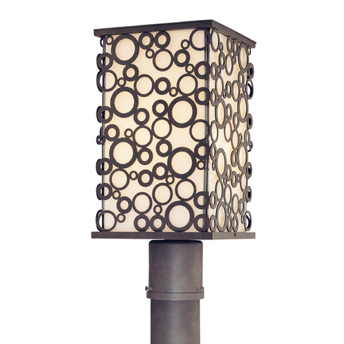 Troy Lighting Modern Post Light with White Glass in French Iron Finish P5015FI