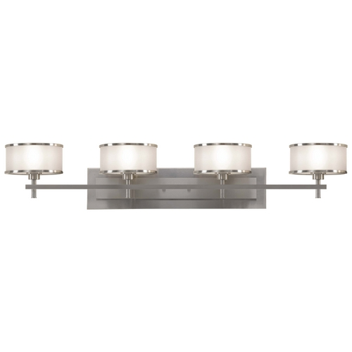 Feiss Lighting Bathroom Light with Silver Shades in Brushed Steel Finish VS13704-BS