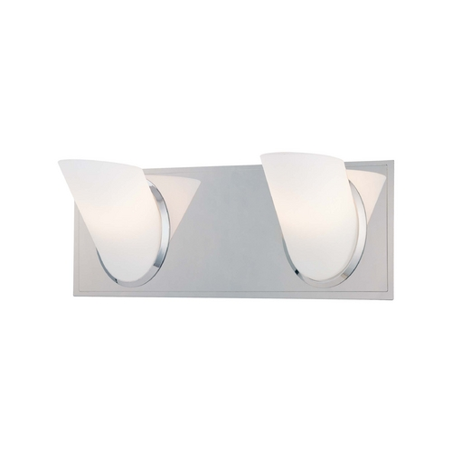 George Kovacs Lighting Modern Bathroom Light with White Glass in Chrome Finish P5942-077