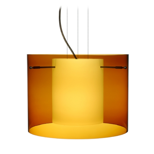 Besa Lighting Modern Pendant Light with Amber Glass in Bronze Finish 1KG-G00707-BR