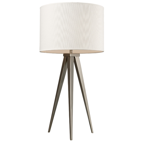 Elk Lighting Modern Table Lamp with White Shade in Satin Nickel Finish D2122