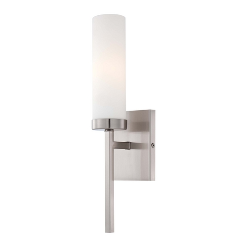 Minka Lavery Modern Sconce Wall Light with White Glass in Brushed Nickel Finish 4460-84