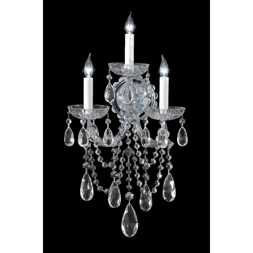 Crystorama Lighting Crystal Sconce Wall Light in Polished Chrome Finish 4423-CH-CL-MWP