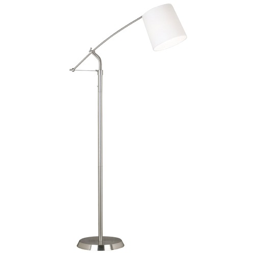 Kenroy Home Lighting Modern Floor Lamp with White Shade in Brushed Steel Finish 20812BS