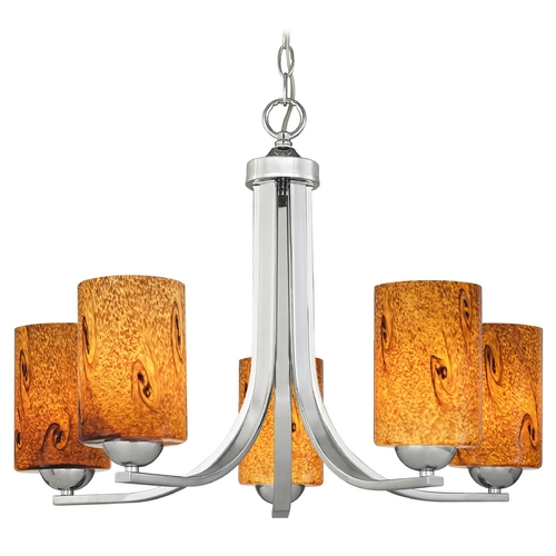 Design Classics Lighting Modern Chandelier with Brown Art Glass in Polished Chrome Finish 584-26 GL1001C
