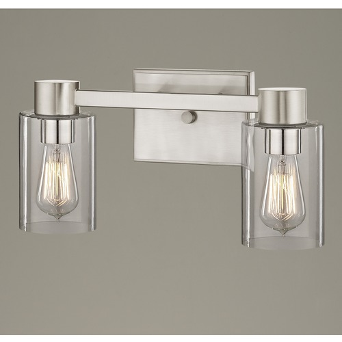 Design Classics Lighting 2-Light Clear Glass Bathroom Light Satin Nickel 2102-09 GL1040C