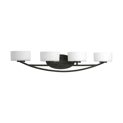 Progress Lighting Progress Modern Bathroom Light with White Glass in Forged Black Finish P3236-80WB