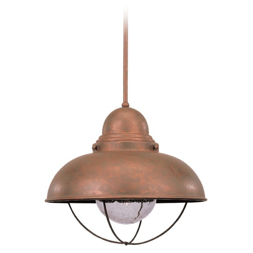 Sea Gull Lighting Sea Gull Lighting Sebring Weathered Copper LED Outdoor Hanging Light 665891S-44