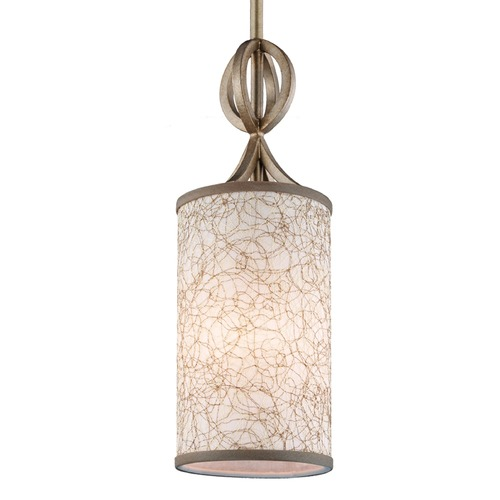 Feiss Lighting Feiss Parchment Park Burnished Silver Mini-Pendant Light with Cylindrical Shade P1345BUS