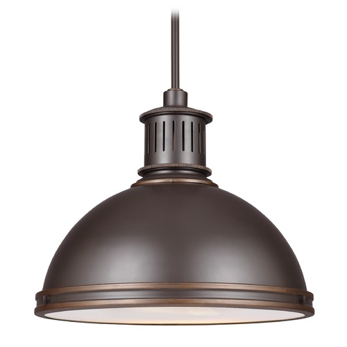 Sea Gull Lighting Farmhouse LED Pendant Light Bronze Pratt Street Metal by Sea Gull Lighting 6508791S-715