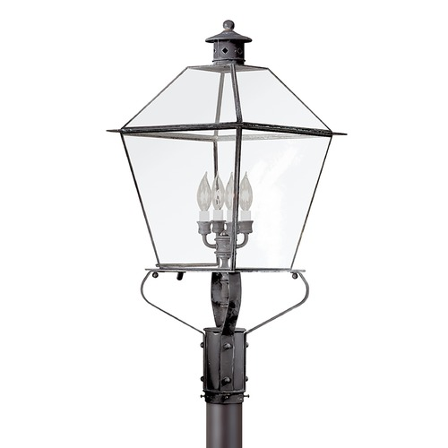 Troy Lighting Post Light with Clear Glass in Charred Iron Finish P8961CI