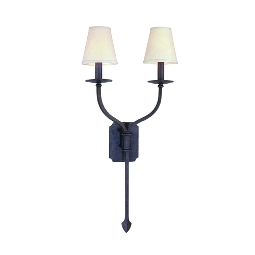 Troy Lighting Sconce Wall Light with White Shades in French Iron Finish B2482FI