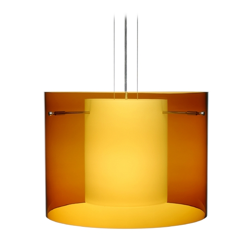 Besa Lighting Modern Pendant Light with Amber Glass in Satin Nickel Finish 1KG-G00707-SN