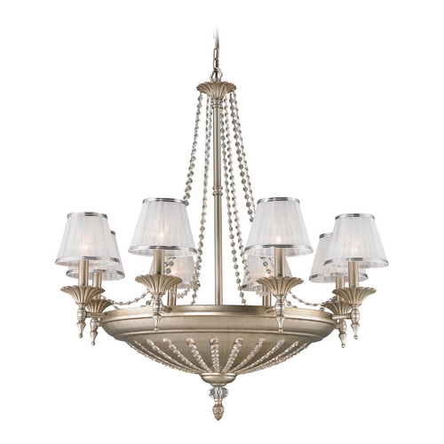 Elk Lighting Chandelier with White Shades in Aged Silver Finish 11361/8+6