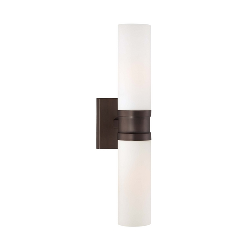 Minka Lavery Sconce Wall Light with White Glass in Copper Bronze Patina Finish 4462-647