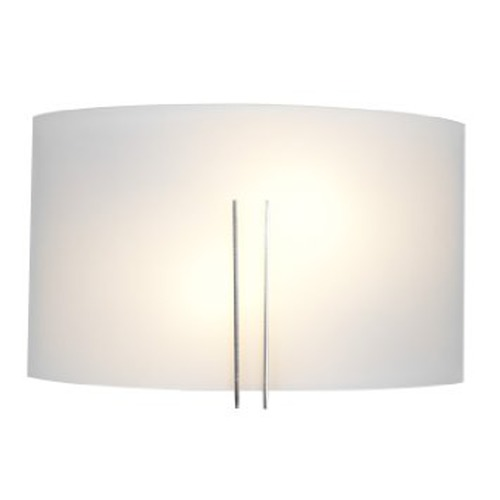 Access Lighting Modern Sconce Wall Light with White Glass in Brushed Steel Finish 20447-BS/WHT