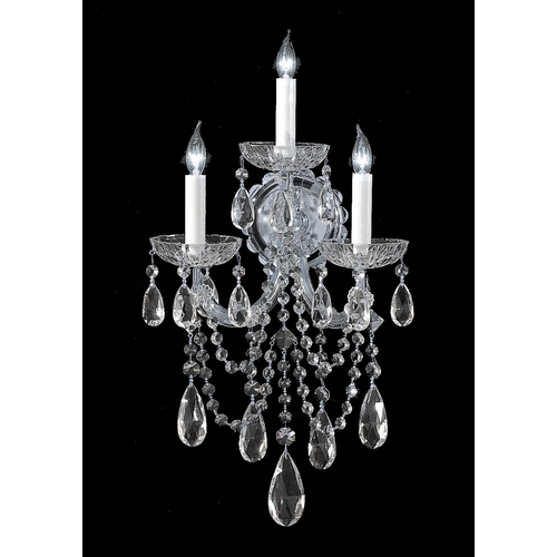 Crystorama Lighting Crystal Sconce Wall Light in Polished Chrome Finish 4423-CH-CL-S