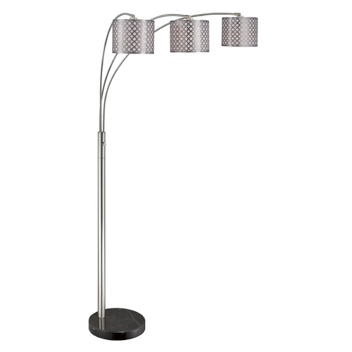 Lite Source Lighting Lite Source Lighting Netto Polished Steel Arc Lamp with Drum Shade LS-82183PS