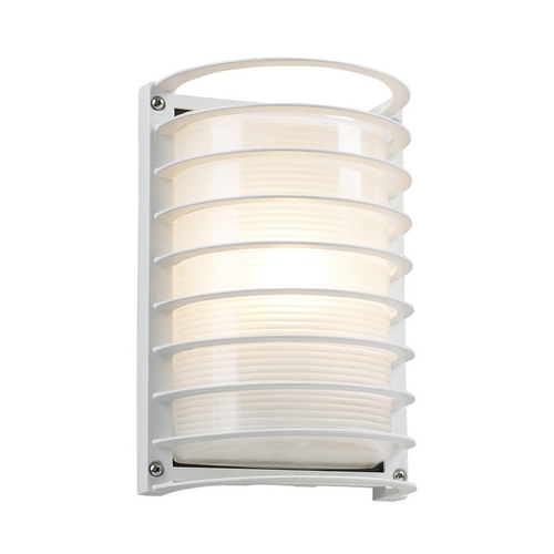 PLC Lighting Modern Outdoor Wall Light with White Glass in White Finish 2038 WH