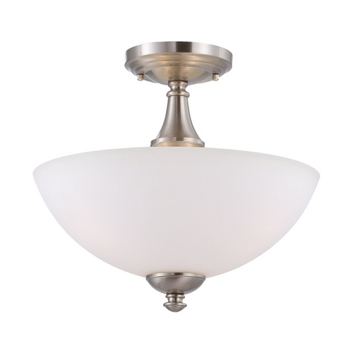 Nuvo Lighting Semi-Flushmount Light with White Glass in Brushed Nickel Finish 60/5064