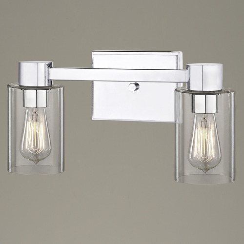 Design Classics Lighting 2-Light Clear Glass Bathroom Light Chrome 2102-26 GL1040C