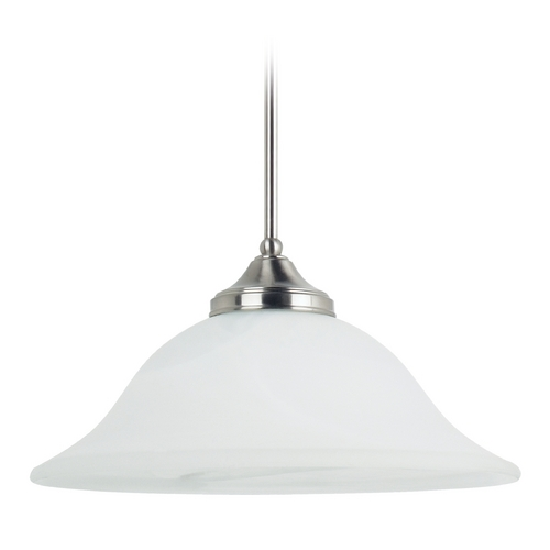 Sea Gull Lighting Pendant Light with Alabaster Glass in Brushed Nickel Finish 65174-962