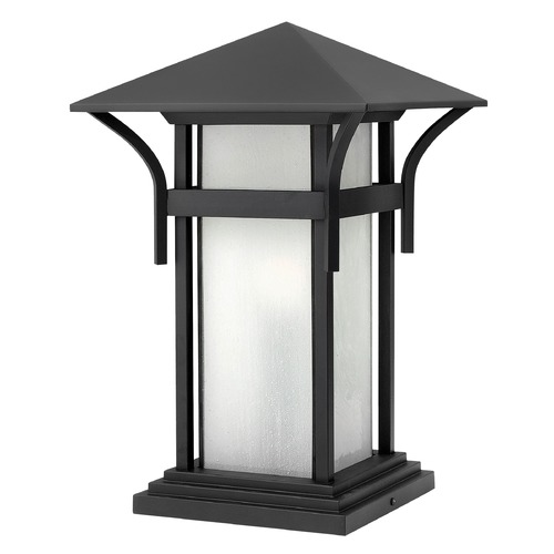 Hinkley Etched Seeded Glass LED Pier Light Black Hinkley 2576SK-LED