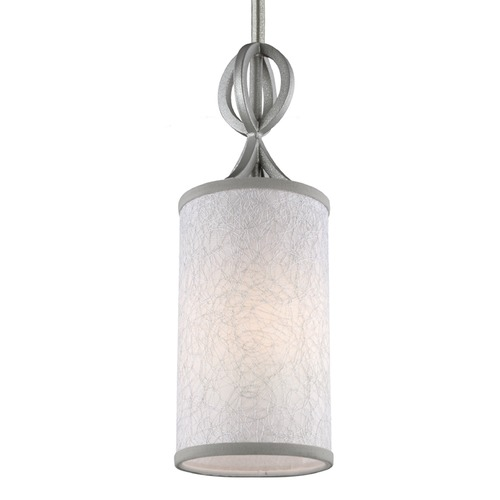 Feiss Lighting Feiss Parchment Park Dark Silver Mini-Pendant Light with Cylindrical Shade P1345SL