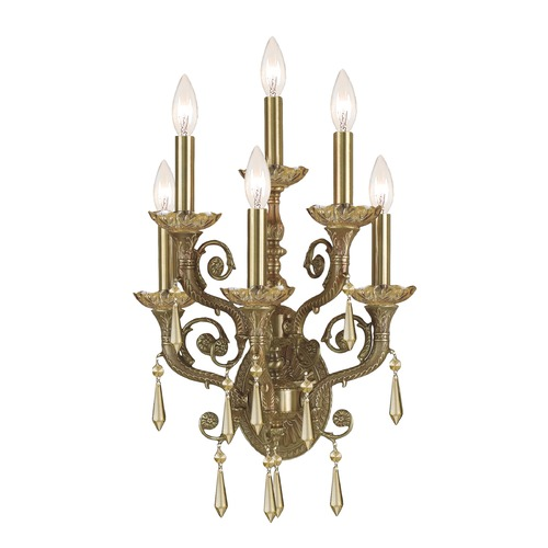 Crystorama Lighting Crystorama Lighting Cast Brass Wall Mount Aged Brass Sconce 5176-AG-GT-MWP