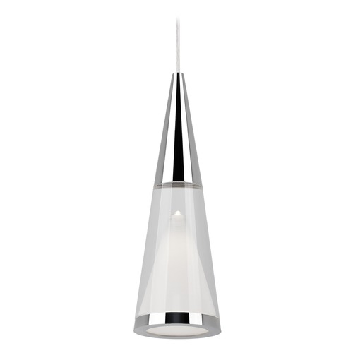 Kuzco Lighting Modern Chrome LED Mini-Pendant with Clear Shade 3000K 300LM 402401CH-LED