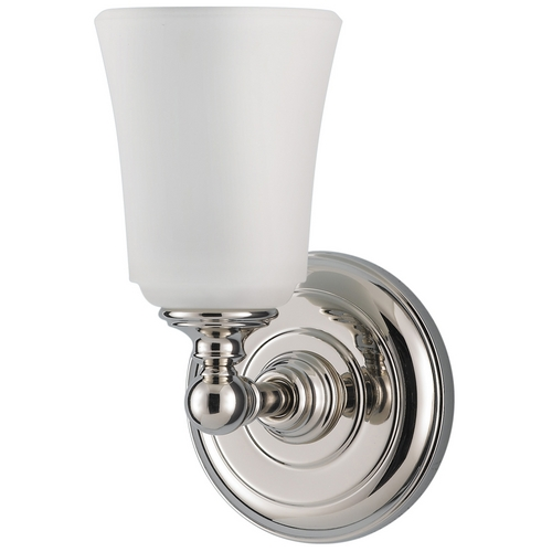 Feiss Lighting Sconce Wall Light with White Glass in Polished Nickel Finish VS12601-PN