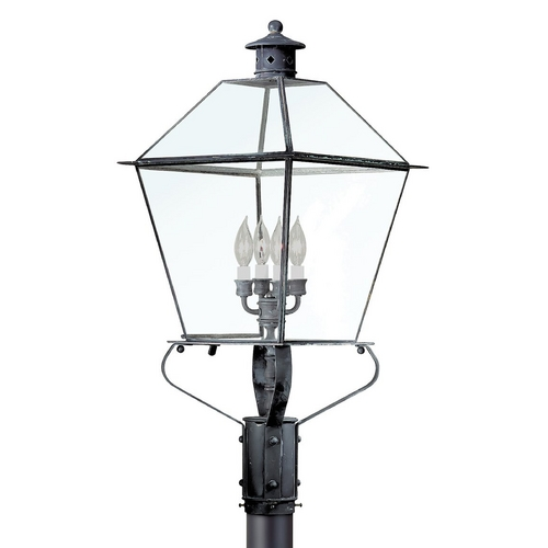 Troy Lighting Post Light with Clear Glass in Matte Black Finish P8961NAB