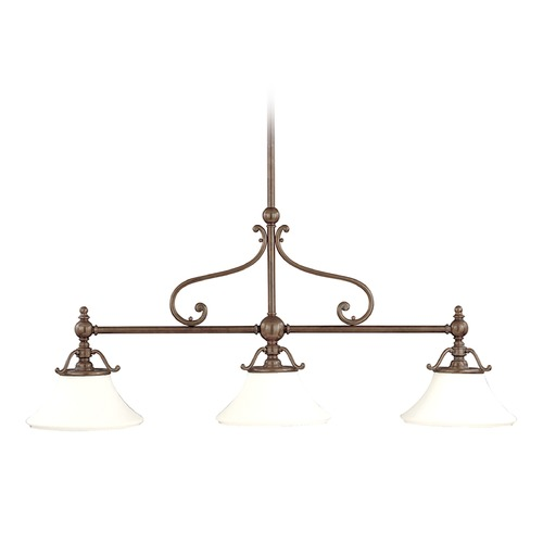 Hudson Valley Lighting Island Light with White Glass in Historic Bronze Finish 7822-HB