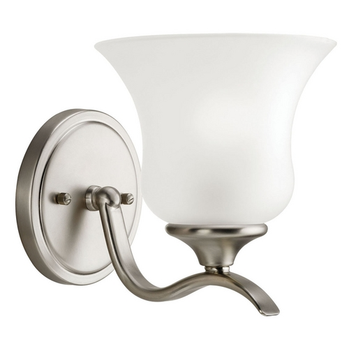 Kichler Lighting Kichler Sconce with White Glass in Brushed Nickel Finish 10636NI