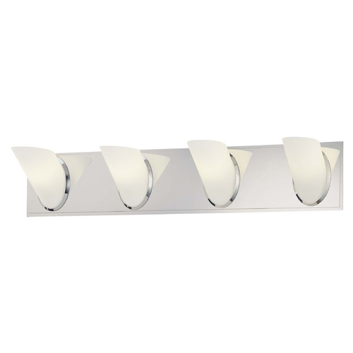 George Kovacs Lighting Modern Bathroom Light with White Glass in Chrome Finish P5944-077
