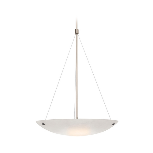 Access Lighting Modern Pendant Light with Alabaster Glass in Brushed Steel Finish 23072-BS/ALB