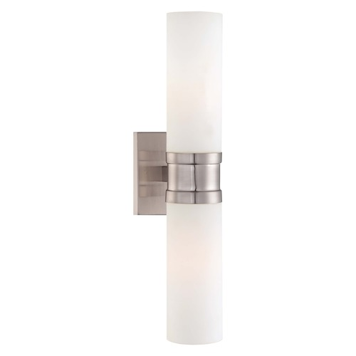 Minka Lighting Sconce Wall Light with White Glass in Brushed Nickel Finish 4462-84